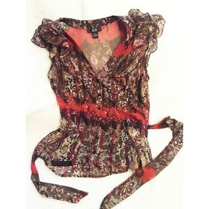 AGB Size Small Flowy Tie Back  Blouse